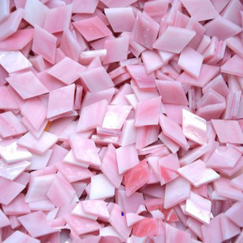 50g/bag Glass Mosaic Tiles Pink Mixed Color For DIY Crafts Mosaic Making Children Puzzle Art Craft Transparent Stone