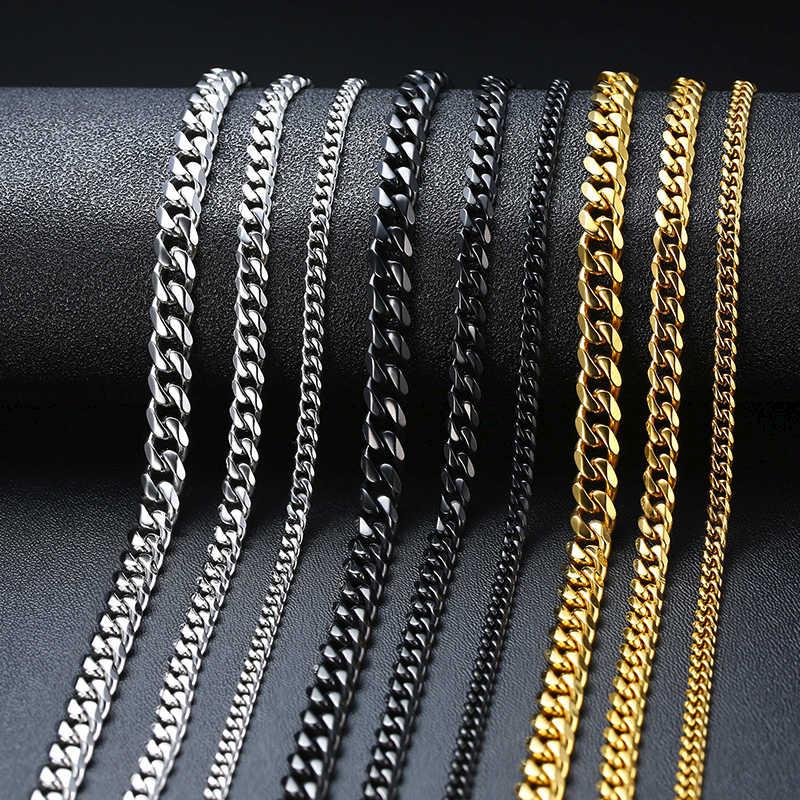Podstawowy łańcuszek ze stali nierdzewnej kubański Link Chain naszyjniki dla kobiet mężczyzn biżuteria srebrny czarny złoty Tone Solid Metal Chokers prezenty