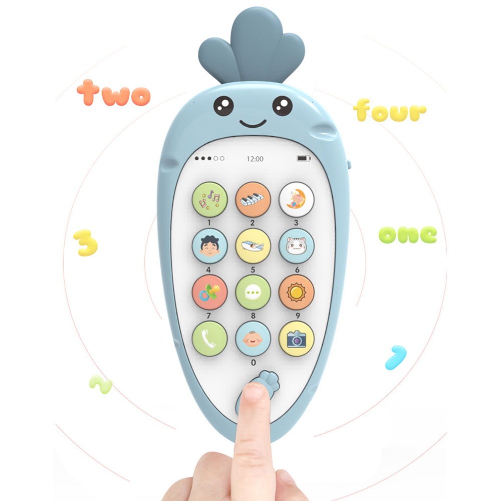 Electronic Toy Phone Musical Cute Radish Children Phone Toy Early Education Cartoon Mobile Phone Telephone Cellphone Baby Toys