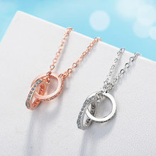Real 925 Sterling Silver Double Circle Women Necklaces Fashion Choker Necklace Statement Wedding Jewelry Bijoux(China)