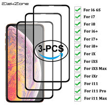 3 Pieces 9H Full Coverage Cover Tempered Glass For iPhone 7 8 6 6s Plus Screen Protector Protective Film For iPhone X XS Max XR