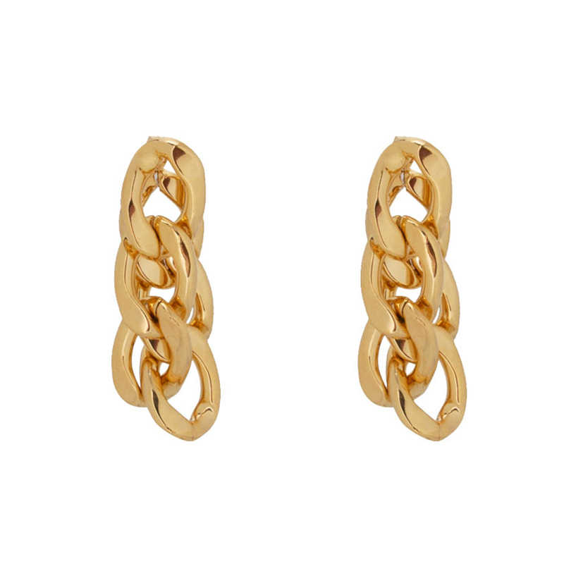 Peri'sbox Chunky Rantai Solid Gold Anting-Anting Multi Link Geometris Anting-Anting Tetes Chic Statement Anting-Anting untuk Wanita Fashion Perhiasan