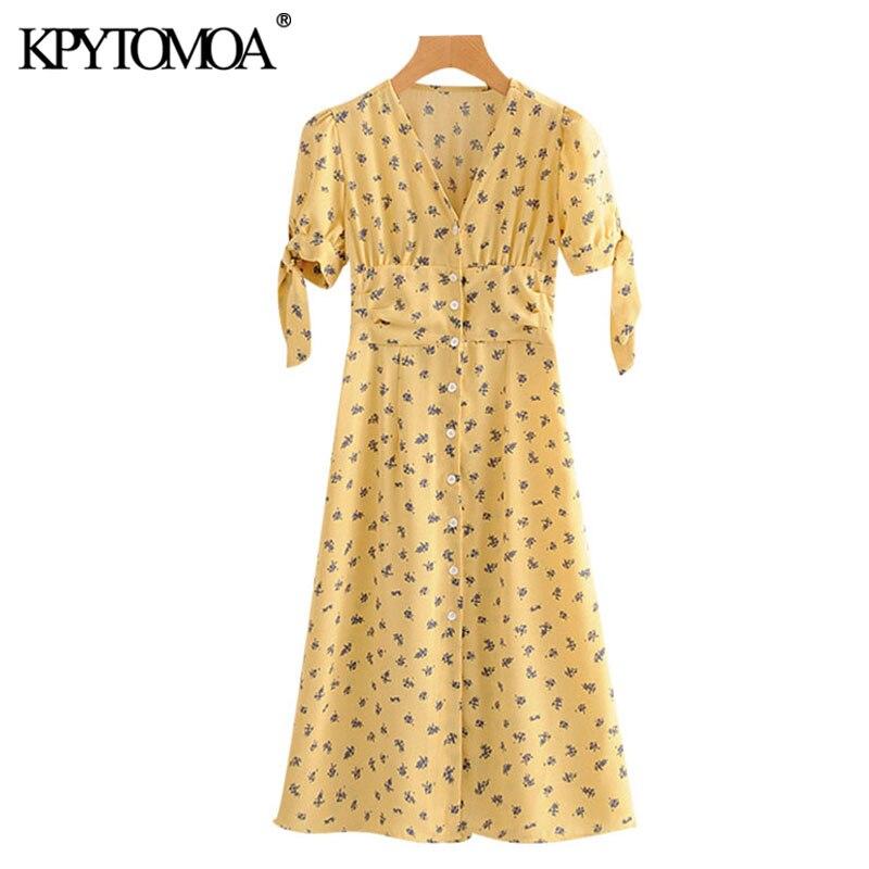 KPYTOMOA Women 2020 Chic Fashion Printed Button-up Midi Dress Vintage V Neck Bow Tied Sleeves Female Dresses Vestidos Mujer