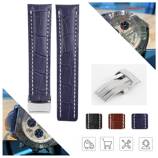 $ US $12.14 20mm 22mm 24mm Genuine Leather Watch Band Watchband for Breitling Watch Super Ocean Avenger Stainless Steel Buckle Black Blue
