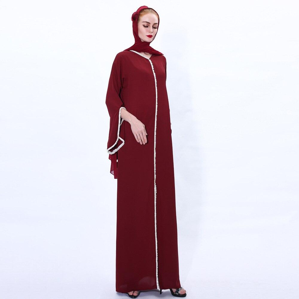 Muslim Fashion Hijab Dress Kaftan Islam Clothing Abaya Dubai Turkey Arabic Vestidos Robe Women V-neck Eid Mubarak Long Dress 4