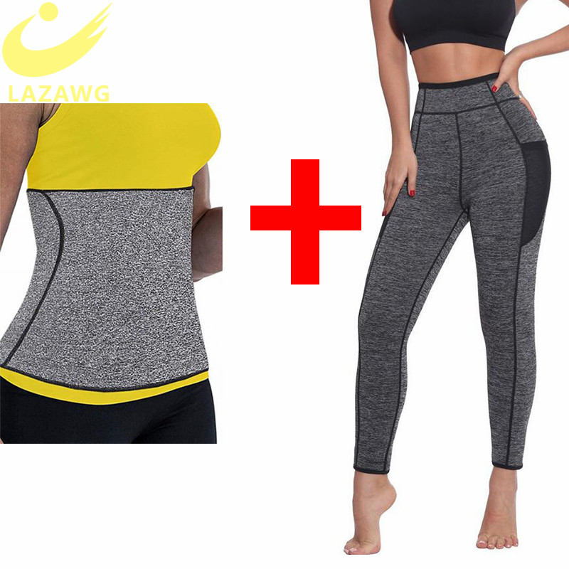 LAZAWG Women Waist Trainer Belts Suits Weight Loss Hot Neoprene Sauna Sweat Pants Workout Sets Capris Leggings Body Shaper
