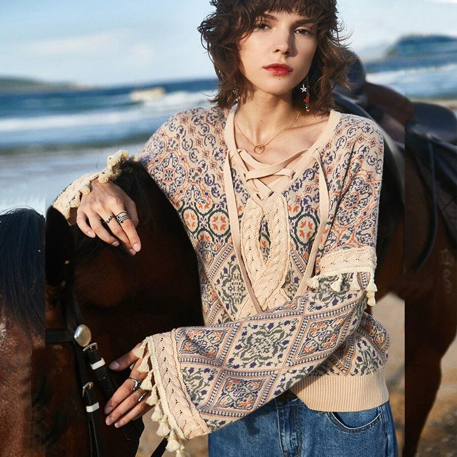TEELYNN Flare Long Sleeve Pullover For Women Boho Sweaters Autumn Winter Warm Sweater Chic Tassel Gypsy Ethnic Knit Sweaters
