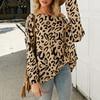 Simplee Casual leopard print women blouse shirt Slash neck long sleeve female tops shirts Elegant knit soft ladies blouses 2019