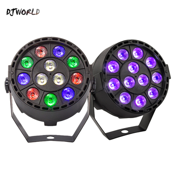Djworld LED Flat Par 12x3W RGBW Ultraviolet Color Light Strobe For Atmosphere Of Disco DJ Music Party Dance Floor Bar Darkening