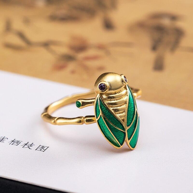 Vla 925 prata personalizado vívido ouro cicada anel feminino adorável doce inseto anel abertura ajustável tamanho da moda jóias