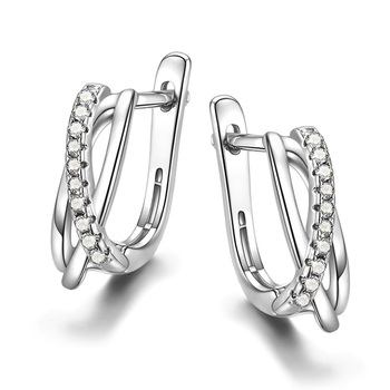 Huitan Simple Women Earring Cross Black Stone Minimalist Gift Low-key Party Daily Wearable New Fashion Female Jewelry Drop Ship 2