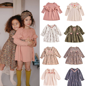 2020 New Autumn Winter L&M Brand Kids Dress for Girls Beauty Flower Knit Sweater Dress Baby Child Cotton Warm Fashion Clothes