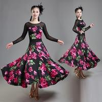High End Sexy Women'S Professional Ballroom Competition Dance Dress Black Long Sleeves Flower Dress Tango Waltz Dresses DWY2195