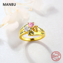 MANBU Rings for Women Trendy Personalized customization Engraved 4 name and birthstone S925 fashion Jewelry forlover gift