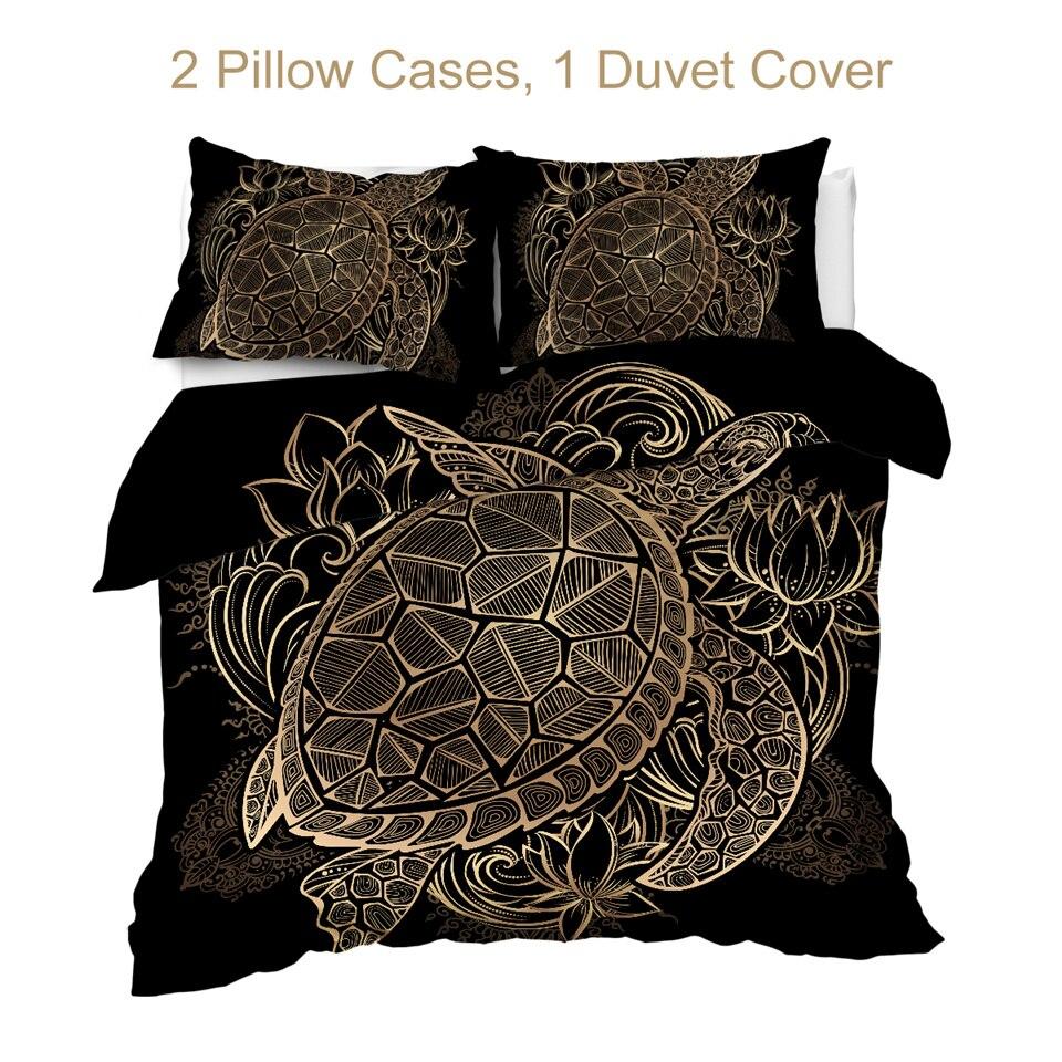 BeddingOutlet Turtles Bedding Set Animal Black Duvet Cover Golden Tortoise Bed Cover Set King Flowers Bedspreads