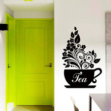 Creative Design Kitchen Art Tea Cup Leaf Flower Vinyl Wall Sticker Studio Home Decor Interior Cafe Decals Window Murals 3675