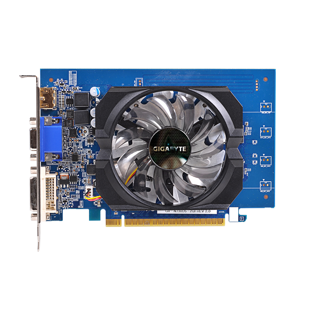 Used Gigabyte graphics card GV-N730D5-2GI uses 2GB video memory and NVIDIA GeForce GT 730 graphics chip