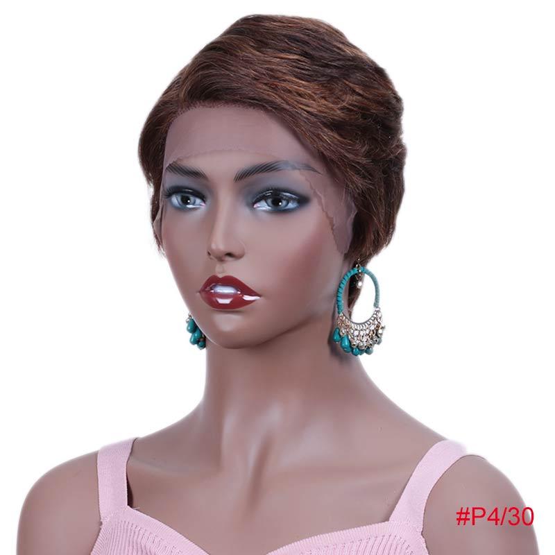Rebecca, парики из натуральных волос на кружеве для черных женщин, прямые парики из натуральных волос, предварительно выщипанные, 613 блонд, розовый, бордовый, 99J - Цвет волос: P4/30