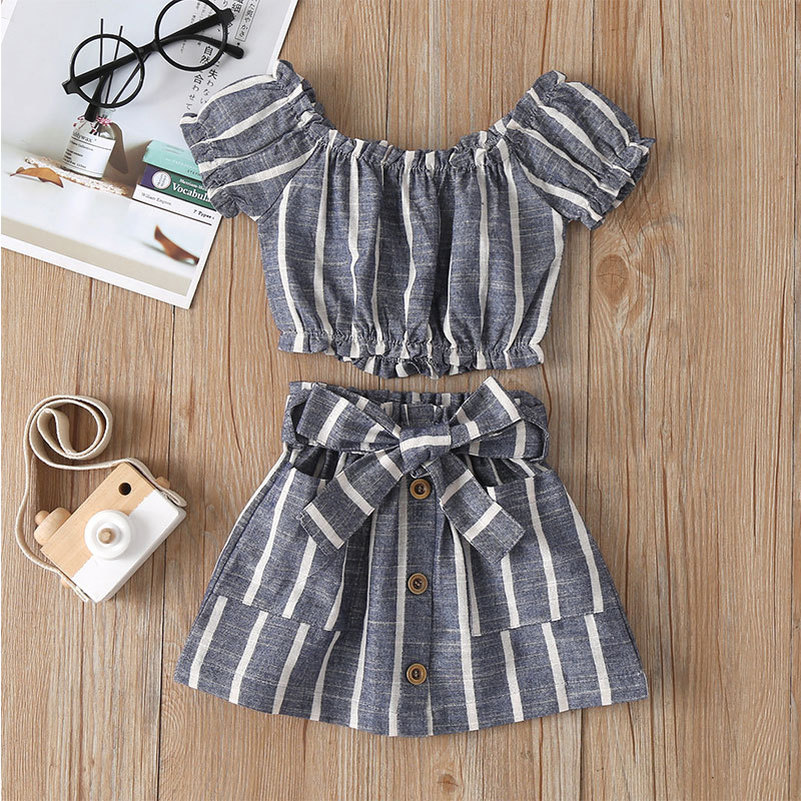 Fashion Stripes Dress Elastic Shirt Baby Girl Clothes Sets 0-5 Years Cool Summer Outfits Party Skrit For Kids Children Toddler