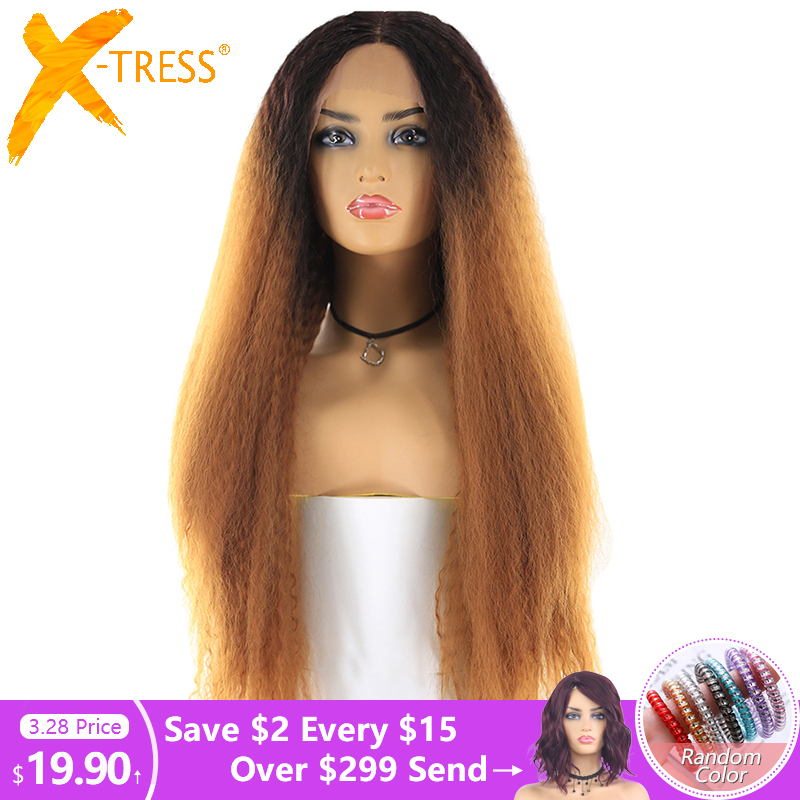 X-TRESS Long Kinky Straight Synthetic Hair Lace Wigs For Women Ombre Brown Blonde Color Lace Front Wig With Natural Hairline
