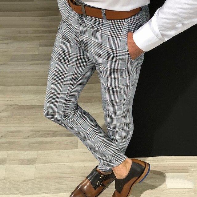 KANCOOLD Brand Pants Men Casual Elastic Long Trousers Male Cotton lattice straight gray Work Pant men's autumn Large size 107 1