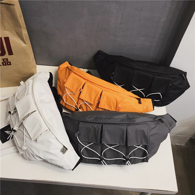 Large Waist Bag Fanny Pack Streetwear Canvas Belt Bags Chest Packs Fashion Hip Hop Pack Crossbody Messenger Chest Bag For Men