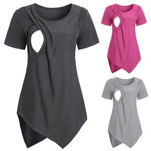 T-Shirt Blouse Breastfeeding Clothes Maternity-Nursing-Top D30 Summer Women New Short