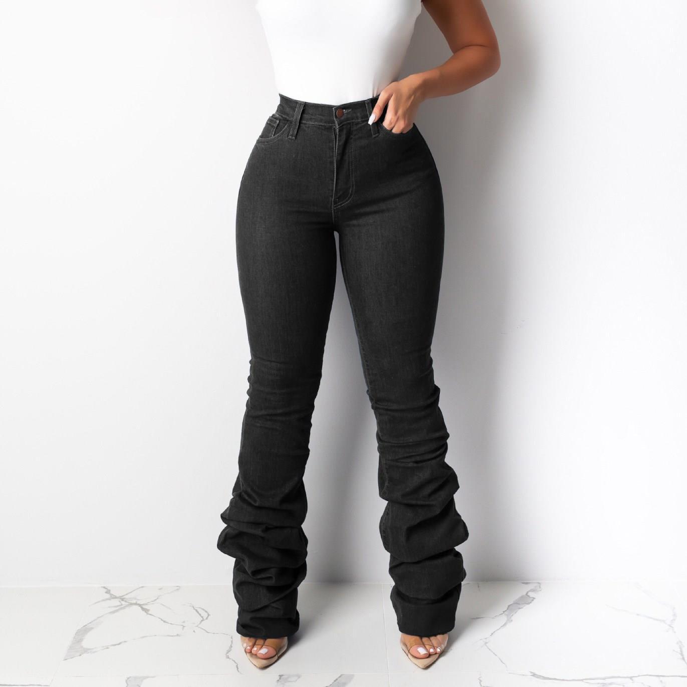 Newest Women Blue Heap Heap Jeans Autumn Winter Fashion Styles Denim Pants High Waist Pockets Skinny Jeans
