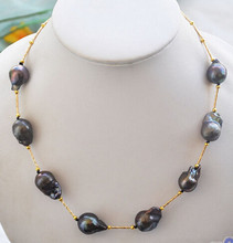 "HOT## Wholesale FREE >>> P4348 18"" 20mm black BAROQUE KESHI REBORN PEARL NECKLACE(China)"
