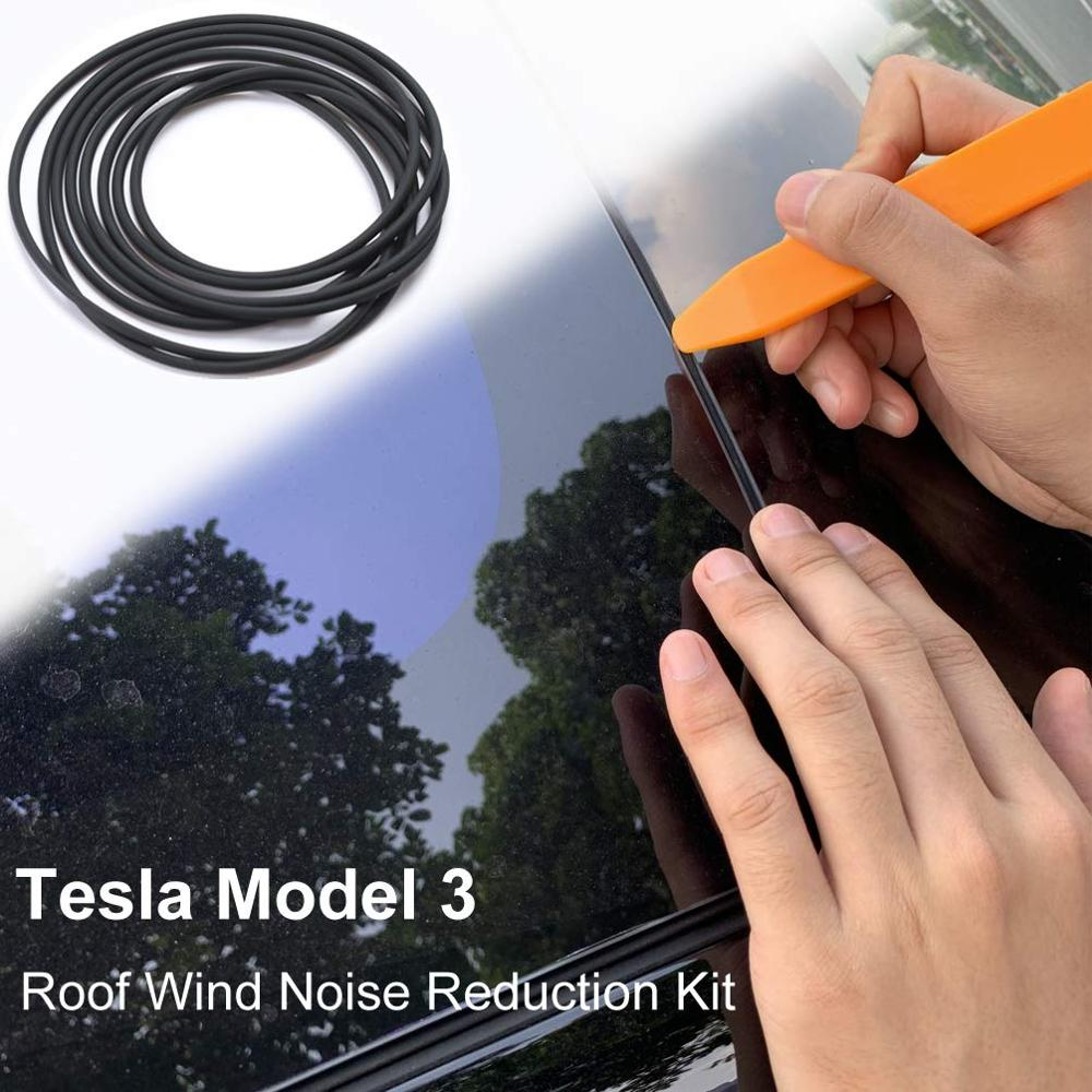 Tesla Model 3 Windshield /& Roof Wind Guard Noise Lowering Dampening Reduction Kit Rubber Anti-Dust Noise Lowering Silicone Seal Quiet Seal Version 2