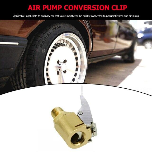 8mm cobre latón neumático de coche aire Chuck Auto rueda neumático inflador bomba válvula Clip abrazadera conector adaptador 8V1 hilo