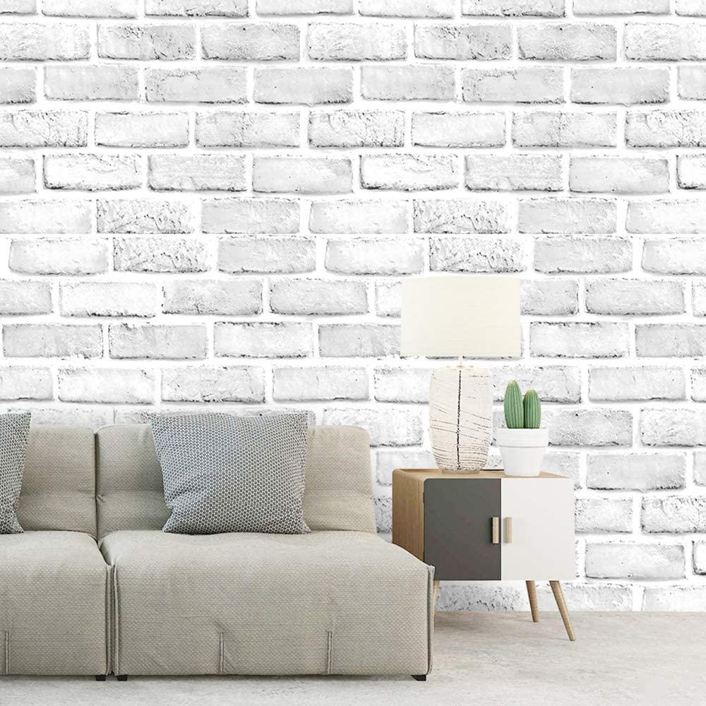 White Brick Self Adhesive Wallpaper For Living Room Bedroom Kitchen Kids Room Decor Mural17 7 X19 7ft Contact Paper Wall Sticker купить по цене 12 85 в Aliexpress Com Imall Com