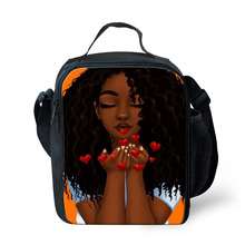 HaoYun Kids Insulated Lunch Bag African Girls Pattern Toddler Students Water-proof Box Cute Picnic Snacks Container
