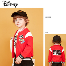 Disney Mickey Minnie 2019 Boy Spring and Autumn Baseball Uniform Fashion Baseball Clothing Kids Jacket Red Stitching Baby Coat