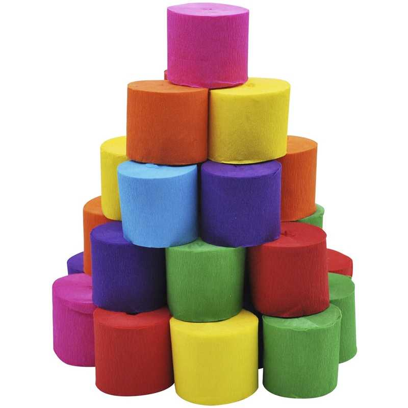 70 Rolls of Crepe Paper Ribbons (7 Colors) for Festive Party Decoration Birthday Party Graduation Ceremony Decoration