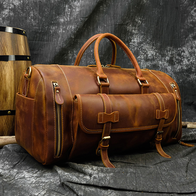 MAHEU Fashion Handbags For Men Genuine Leather Travel Duffles Travelling Shoulder Laptop Bags Real Cow Skin Hand Luggage Bags 3