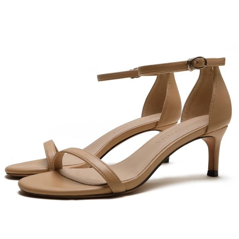 2019 Summer Open Toe Women Genuine Leather Sandals Med High Heel Women's Shoes Rubber Sole High Heel Women's Sandals Shoes E0092