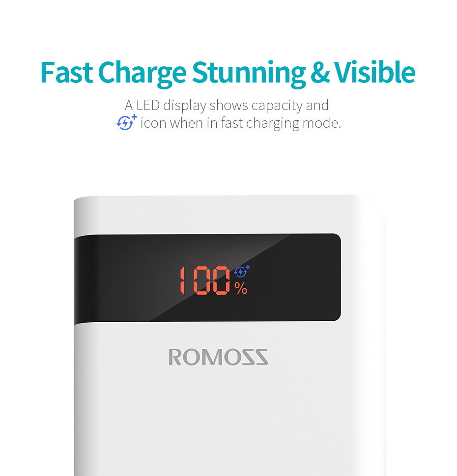 ROMOSS 30000mAh Power Bank PD Quick Charge Powerbank PD 3.0 Fast Charging Portable Exterbal Battery Chargerfor iPhone for Xiaomi
