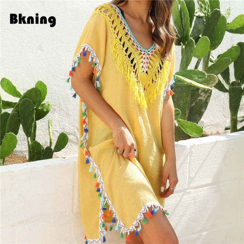 NEW Tassel Beach Dress Fringe Cover Up Ladies Yellow Beachwear 2020 Summer Women Chiffon Tassels Swimsuit Cover Ups White Black