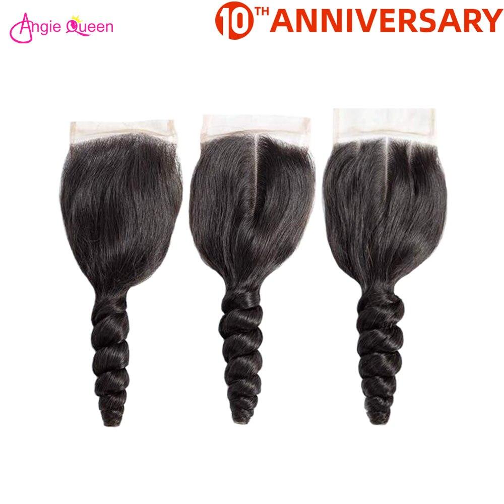 ANGIE QUEEN Brazilian Hair Loose Wave Hair Closure 100% Human Hair Closure 150% 8-20 Inch Lace Closure Non Remy Hair Closure