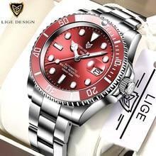 LIGE DESIGN HighMineral Glass 40MM ceramiczne GMT mechaniczne zegarki 100m wodoodporny klasyczny moda luksusowy zegarek automatyczny dla mężczyzn