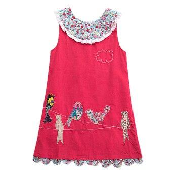 Girls Sleeveless Dress Embroidered Cotton Dress Summer New Button Dress for Girls Wearing Sleeveless Dress H6148 фото