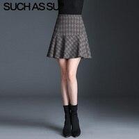 New Knit Mini Skirt Women Gray Lattice High Waist Mermaid Skirt S 3XL Plus Size 2019 Fall Winter Sexy Ruffle Tutu Skirt Female