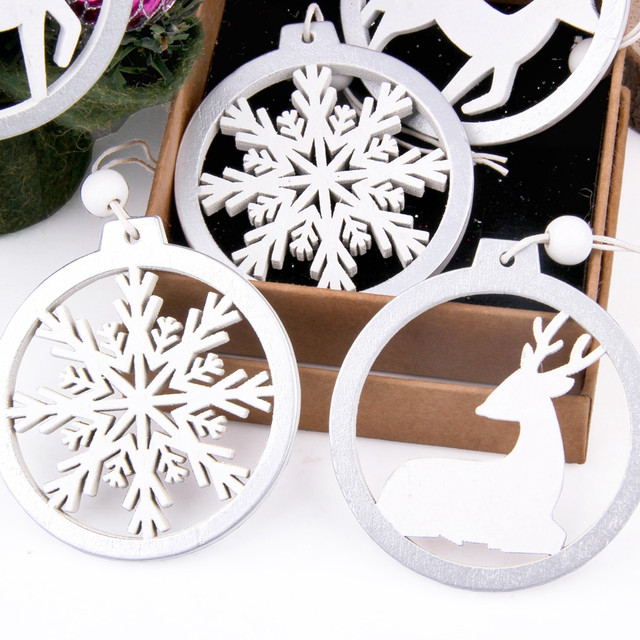 3PCS/lot Creative White Deer/Snowflake Wooden Pendants Christmas Tree Ornaments Decorations Xmas Wood Crafts Home Party Supplies 27