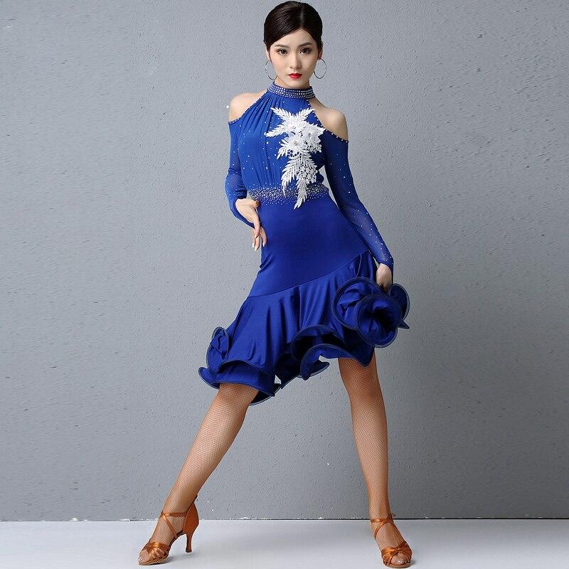 Необычное платье для латинских танцев для выступлений, женское сексуальное платье с длинными рукавами, стразы, платья с принтом, женская одежда для бальных танцев DL4711 - Цвет: Синий