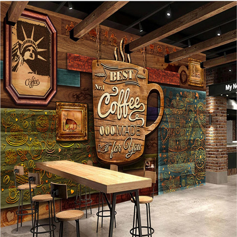 Custom Advanced Vintage Cafe Wall Paper 3D Coffee House Industrial Decor Wood Plank Textured Embossed Wall Mural Wallpaper 3D