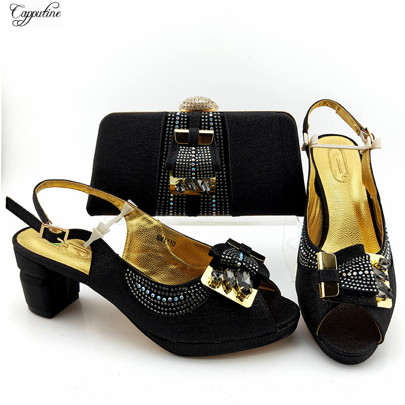 New Coming Black Party Shoes Bag Set African Women's Sandals With Handbag For Lady MM1110 Heel Height 7CM