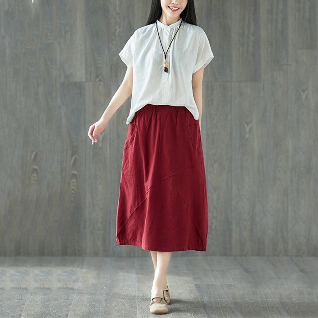 Women's Leisurely  Plus Size Stitching Retro kawaii Loose Mid-Calf Summer Skirt sexy Skirt юбка женская skirts womens Women