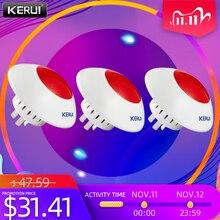 KERUI 3 sztuk 433MHz bezprzewodowa syrena alarmowa Flash Horn czerwone światło ostrzegawcze Strobe gwizdek syreny garnitur dla systemu alarmowego KERUI