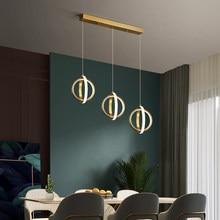 Lampe de pendentif LED moderne pour chambre salon chevet minimaliste nordique longue ligne lustre doré luminaires à la maison